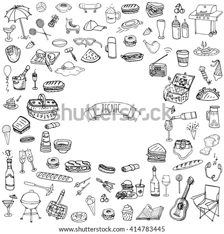 Hand drawn doodle Picnic icons set. Vector illustration barbecue sketchy symbols collection Cartoon bbq concept elements Summer Umbrella Guitar Food basket Drinks Wine Sandwich Sport activities Fruits - stock vector
