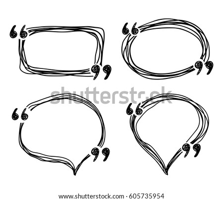 Hand Drawn Doodle Quotes Boxes Speech Stock Vector ...