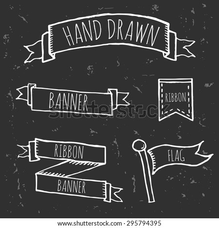 Hand Drawn Doodle Ribbons and Banners