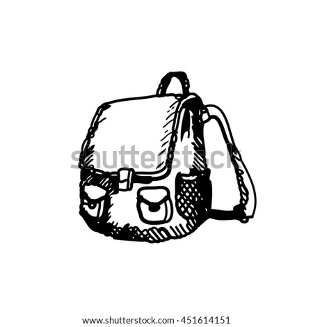 Hand drawn doodle schoolbag. Black pen outline,white background. Pupil, student,  school, education. - stock vector