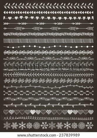 Hand-Drawn Doodle Seamless Borders. Decorative Flourish Chalk Drawing. Vector Illustration. - stock vector
