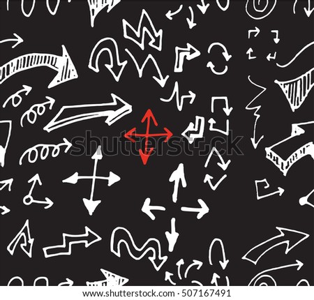 hand-drawn doodle seamless pattern with arrows chalkboard