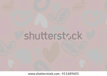hand-drawn doodle seamless pattern with hearts. Can be used for graphic design, as well as prints for fabric. Vector illustration
