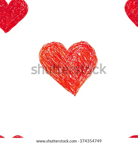 Hand-drawn doodle seamless pattern with hearts. Red heart vector background - stock vector