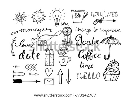 Hand drawn doodle set for notebook or bullet journal isolated on white background. Vector illustration.