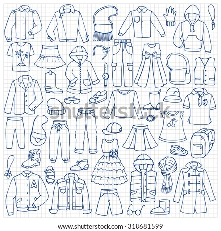 Hand drawn doodle set with childish clothes on squared paper. Vector illustration for backgrounds, textile prints, web and graphic design - stock vector