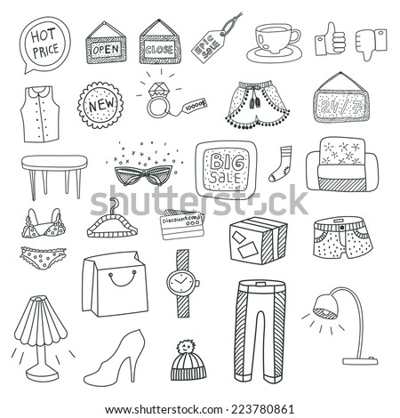 Hand Drawn Doodle Shopping Icons - stock vector