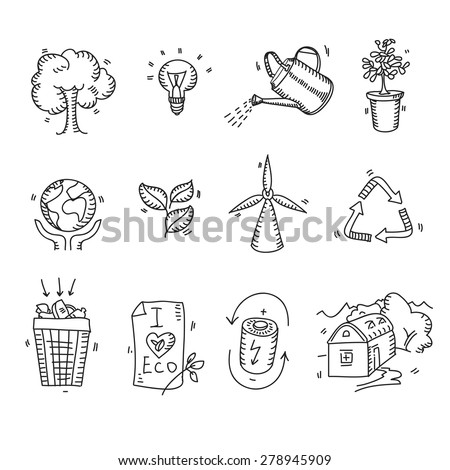 Hand drawn doodle sketch ecology organic icons eco and bio elements nature planet protection care recycling save concept. - stock vector