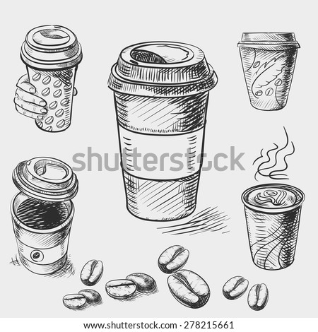 hand drawn doodle sketch vintage paper cup of coffee takeaway Menu for restaurant, cafe, bar, coffeehouse. - stock vector