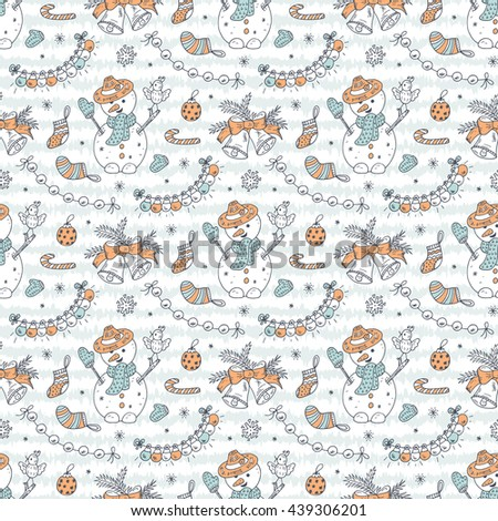 Hand Drawn Doodle Snowman and Christmas decorations Vector Seamless pattern. Celebratory background. Holiday wallpaper. Xmas. Merry Christmas and New Year background. - stock vector