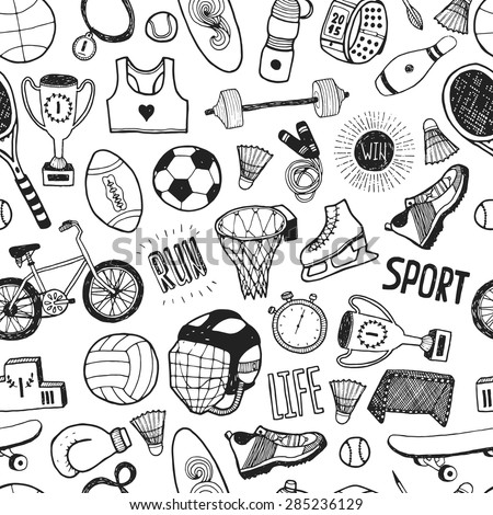 Hand drawn doodle sport background. Vector cartoon pattern with sport icons, cycling, skating, soccer, bowling, golf, tennis, baseball.  - stock vector