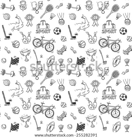 Hand drawn doodle sport seamless pattern. Vector background for your design. - stock vector