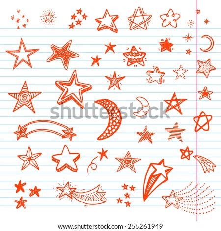 Hand drawn doodle stars set - stock vector