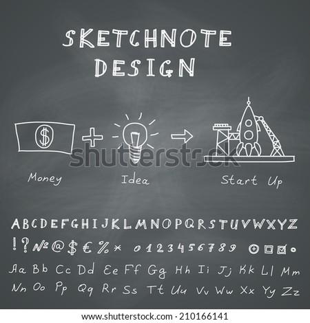 Hand Drawn Doodle Start Up Infographic. Vector skethnote design on chalkboard background - stock vector