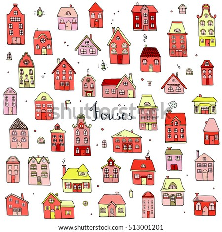 Hand drawn doodle street homes icons set. Vector illustration. Cottage symbol collection. Cartoon village buildings various sketch architectural elements: residential houses, housing, property