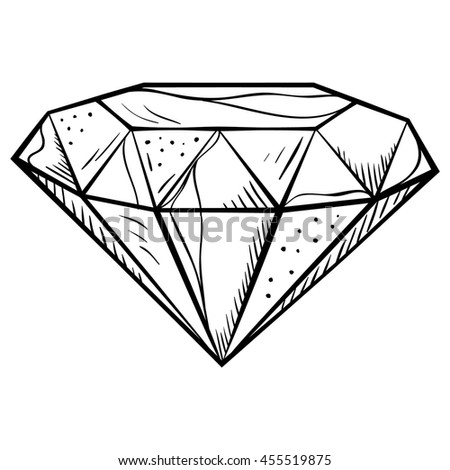 Hand-drawn doodle style diamond icon. Vector llustration