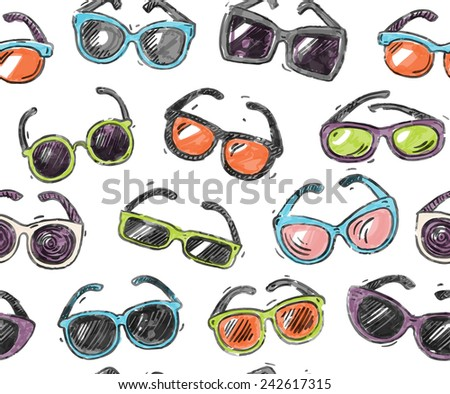 Hand drawn doodle style, different sunglasses types, seamless pattern. - stock vector