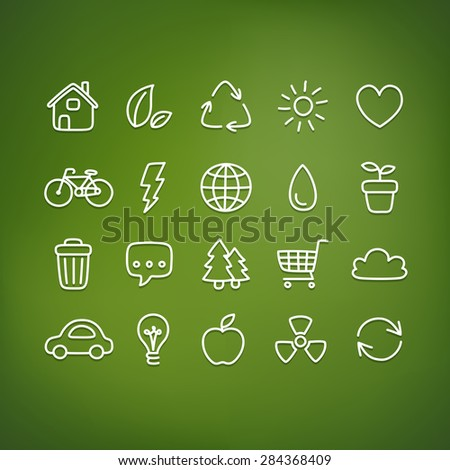 """Hand drawn doodle style ecology themed icons on a blurred """"frosted glass"""" background. - stock vector"""