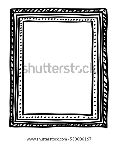 Handdrawn Doodle Style Picture Frame Isolated Stock Vector 530006167