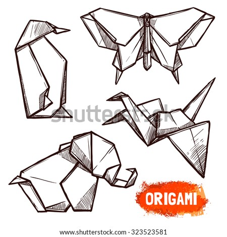 Hand drawn doodle style set of 4 origami figures penguin butterfly elephant swan isolated vector illustration - stock vector