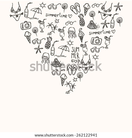 hand drawn doodle summer icons, outlines, black and white, little objects arranged compactly in triangle shape, summer background with empty text for your text here - stock vector