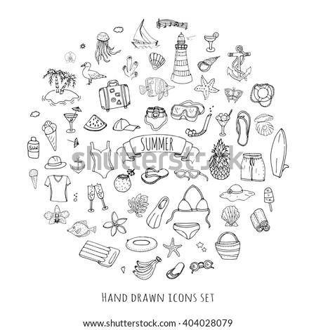 Hand drawn doodle summer set icons Vector illustration Sketchy summer holiday elements collection Isolated vacation objects Cartoon summer beach journey symbols Summertime traveling background  - stock vector