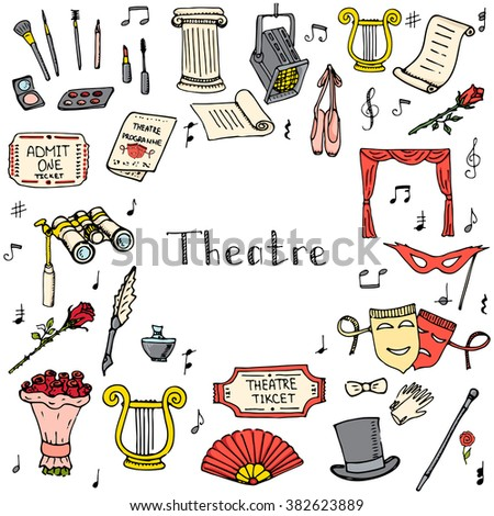 Hand drawn doodle Theater e set Vector illustration Sketchy theater icons Theatre acting performance elements Ticket Masks Lyra Flowers Curtain stage Musical notes Pointe shoes Make-up artist tools - stock vector