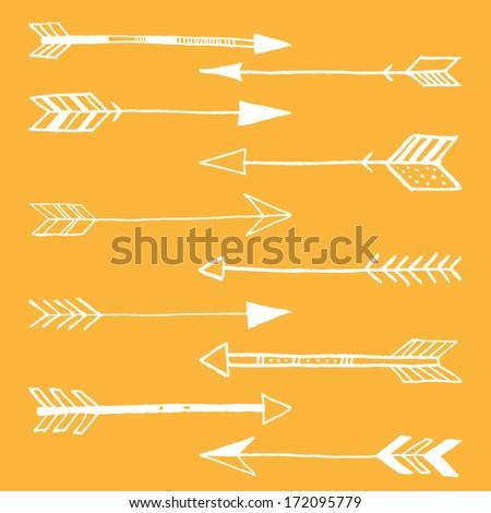 Hand Drawn Doodle Tribal Arrows  - stock vector