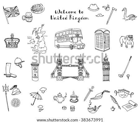Hand drawn doodle United Kingdom set Vector illustration UK icons  Welcome to London elements British symbols collection Tea Bus Horse riding Golf Crown Beer Book Bulldog London bridge Big Ben Tower - stock vector