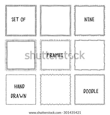 Hand drawn doodle vector frames - stock vector