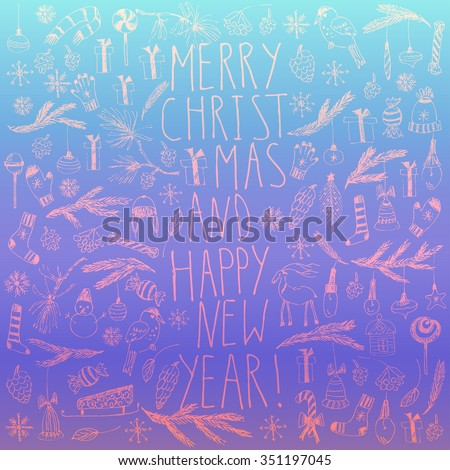 Hand drawn doodle vector illustration. Christmas line art drawings on blue purple gradient background. Christmas new year card with lettering, snowflakes, snowman, fir tree branches, candy, ornaments. - stock vector