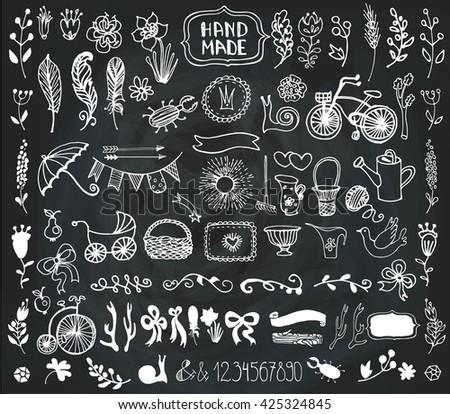Hand Drawn doodle vintage floral decorative elements,flowers, arrow, branches,horn,feathers,garden tool. Doodle clipart,rustic vector.Vintage design templates,invitation card,logo,cafe menu.Chalkboard - stock vector