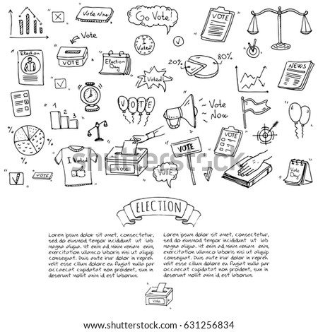 Hand Drawn Doodle Vote Icons Set Stock Vector 2018 631256834