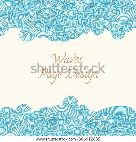 Hand-drawn doodle with abstract wave. Vector wavy background . Template can be used for tickets, congratulations, label, etc - stock vector