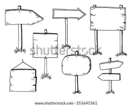 Hand drawn doodle wood signs and arrows set - stock vector