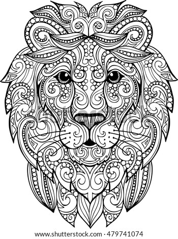 stock vector hand drawn doodle zentangle lion illustration decorative ornate vector lion head drawing for 479741074