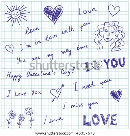 Hand-drawn doodles and love messages on graph paper. - stock vector