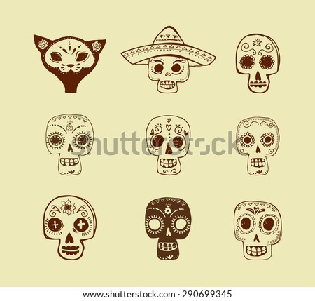hand drawn doodles, mexican skull set, day of the dead - stock vector