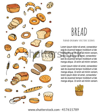 Hand drawn doodles of cartoon food: rye bread, whole grain bread, bagel, sliced bread, french baguette, croissant, sandwich, cake. Bread set. Vector illustration. Sketch elements collection. - stock vector