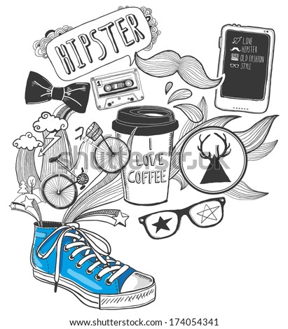 hand-drawn doodles with hipster symbols - stock vector