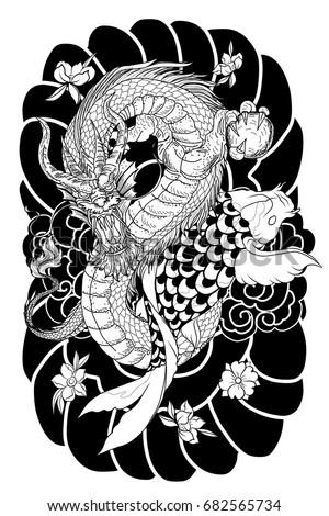 Hand Drawn Dragon And Koi Fish With Flower Tattoo For ArmJapanese Carp Line Drawing