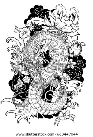 hand drawn dragon tattoo coloring book japanese style - The Tattoo Coloring Book