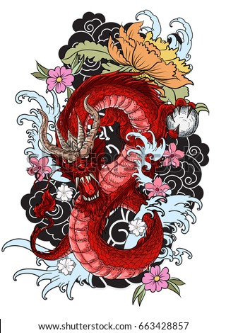hand drawn dragon tattoo coloring book japanese stylejapanese old dragon for tattoo - Tattoo Coloring Book