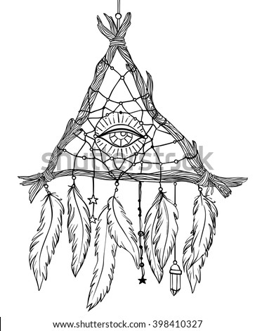 dreamcatcher tattoo template - hand drawn drawing triangleshaped dreamcatcher feathers