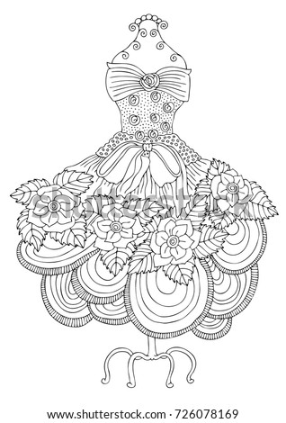 Hand Drawn Dress Sketch For Anti Stress Adult Coloring Book In Zen Tangle