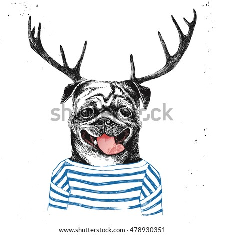 Hand drawn dressed up pug in hipster style with deer horns