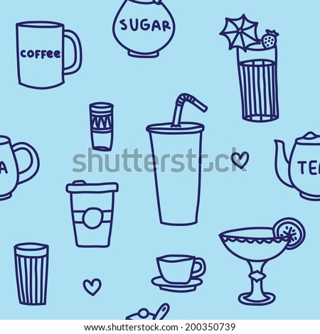Hand drawn drinks seamless vector pattern - stock vector