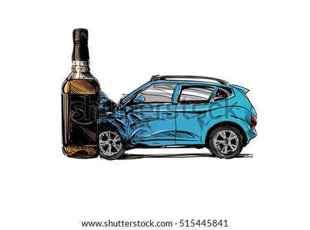 Hand Drawn Drunk Driving Car Crash Stock Vector HD (Royalty Free ...
