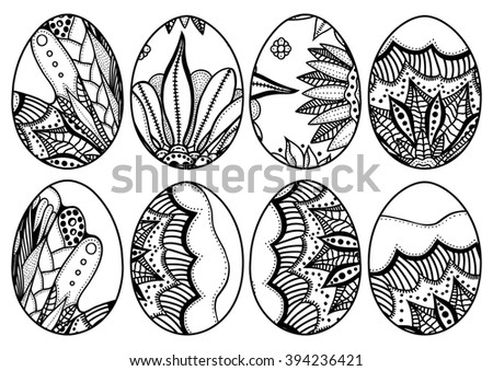 Hand Drawn Easter Eggs Set For Coloring Book Adult And Design Elements