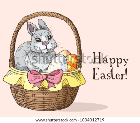 Hand drawn easter gift card easter stock vector 1033441291 hand drawn easter gift card with funny rabbit and easter eggs in the basket greate negle Choice Image